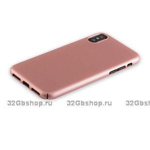 Пластиковый чехол для iPhone X / Xs 10 розовое золото - Soft Touch Deppa Air Case Rose Gold