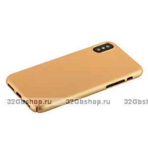 Золотой пластиковый чехол накладка для iPhone X / Xs 10 - Soft Touch Deppa Air Case Gold
