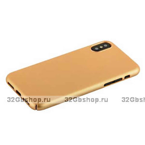 Золотой пластиковый чехол накладка для iPhone X 10 - Soft Touch Deppa Air Case Gold