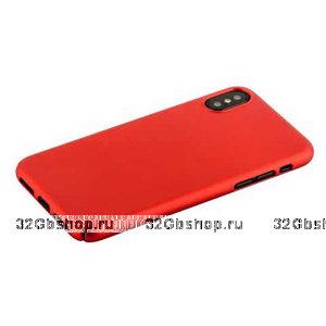 Красный пластиковый чехол-накладка для iPhone X / Xs 10 - Soft Touch Deppa Air Case Red