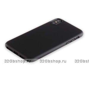 Черный пластиковый чехол-накладка для iPhone X 10 - Soft Touch Deppa Air Case Black