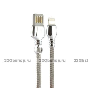 Серебристый USB кабель Remax King Data Cable LIGHTNING charging 1.0 м