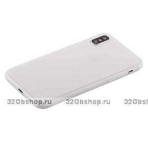 Белый супертонкий силиконовый чехол для iPhone X 10 - COTEetCI Grind Arenaceous TPU Case White