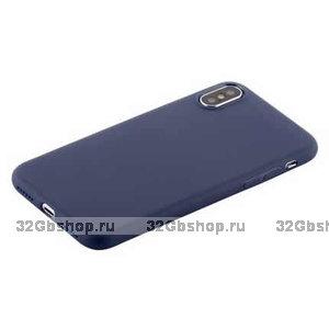 Синий супертонкий силиконовый чехол для iPhone X 10 - COTEetCI Grind Arenaceous TPU Case Blue