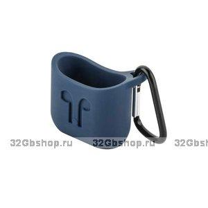 Чехол силиконовый COTEetCI для AirPods с карабином Синий