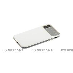 Силиконовый чехол с задней пластиковой накладкой Baseus для iPhone X 10 белый