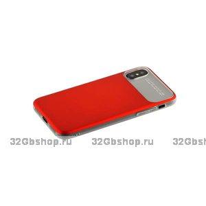 Силиконовый чехол с задней пластиковой накладкой Baseus для iPhone X 10 красный