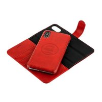 Красный кожаный чехол-книжка и накладка 2в1 для iPhone X / Xs - i-Carer Leather Detachable Wallet Folio Case Red