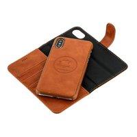 Коричневый чехол-книжка и накладка 2 в 1 для iPhone X / Xs - i-Carer Leather Detachable Wallet Folio Case Brown