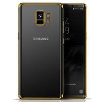 Прозрачный силиконовый чехол с золотым бампером для Samsung Galaxy S9