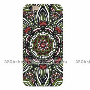 Накладка Floral Pattern для iPhone 5 / 5s / SE с черным и зеленым узором