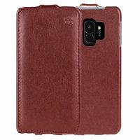 Коричневый кожаный чехол флип для Samsung Galaxy S9 - IMUCA Leather Flip Case Brown