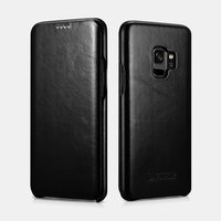 Черный кожаный чехол книжка для Samsung Galaxy S9 - i-Carer Vintage Series Black
