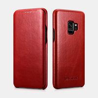 Красный кожаный чехол книга для Samsung Galaxy S9 - i-Carer Vintage Series Red
