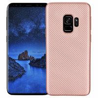 Силиконовый карбоновый чехол для Samsung Galaxy S9 розовое золото