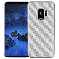 Серебряный силиконовый чехол для Samsung Galaxy S9 карбон