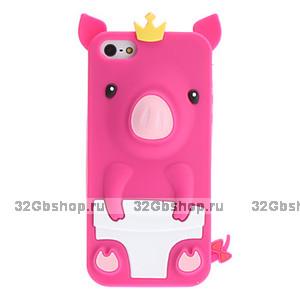 Силиконовый чехол Happy Pig для iPhone 5 / 5s / SE розовый поросенок