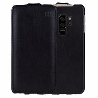 Черный кожаный чехол для Samsung Galaxy S9+ Plus - IMUCA Leather Flip Case Black