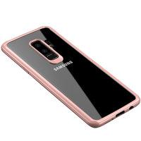 Прозрачный силиконовый чехол для Samsung Galaxy S9+ с пластиковым бампером розовое золото