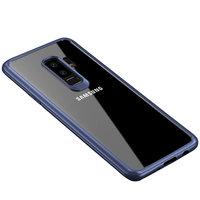 Прозрачный силиконовый чехол с синим пластиковым бампером для Samsung Galaxy S9 Plus