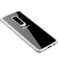 Прозрачный силиконовый чехол с белым пластиковым бампером для Samsung Galaxy S9+ Plus