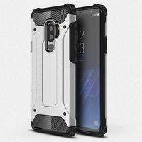 Черный силиконовый противоударный чехол для Samsung Galaxy S9 Plus серебряный пластик
