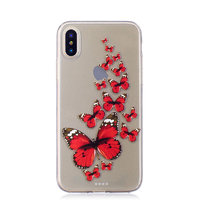 Cиликоновый чехол для iPhone X / Xs с рисунком красные бабочки