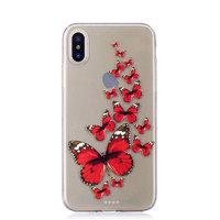 Cиликоновый чехол для iPhone X с рисунком красные бабочки