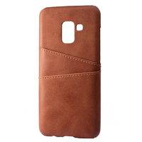 Коричневый кожаный чехол накладка для Samsung Galaxy S9
