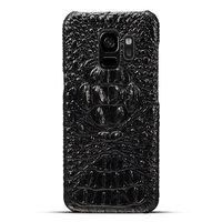 Черный чехол из кожи крокодила для Samsung Galaxy S9 хребет