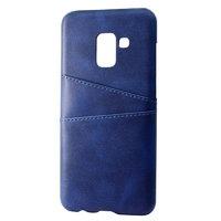 Синий кожаный чехол накладка для Samsung Galaxy S9