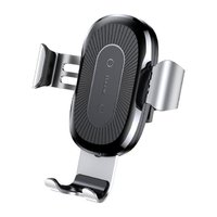 Серебристое быстрое беспроводное автомобильное зарядное устройство для Samsung Galaxy S9 / S9+ Plus - Baseus Wireless Charger Gravity Car Mount Silver 5V/2A, 9V/1.7A Серебристый