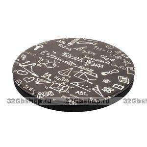 Черное быстрое беспроводное зарядное устройство для Samsung Galaxy S9+ / S9 с принтом формулы - Icarer PU Printed Pattern Leather Fast Wireless Charging Math Formula 5-9V-2A