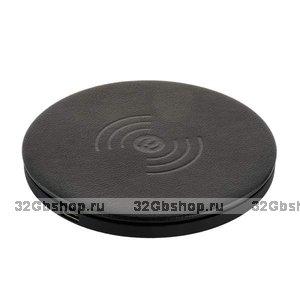 Черное беспроводное зарядное устройство для Samsung Galaxy S9 / S9 Plus быстрый заряд - i-Carer Microfiber Leather Fast Wireless Charging Black 5-9V-2A