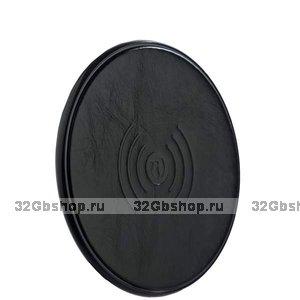 Черное кожаное беспроводное зарядное устройство для Samsung Galaxy S9  / S9 Plus - i-Carer Genuine Leather Wireless Charging Black 5V-1A