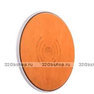 Оранжевое кожаное беспроводное зарядное устройство для Samsung Galaxy S9 / S9 Plus - i-Carer Genuine Leather Wireless Charging Orange 5V-1A