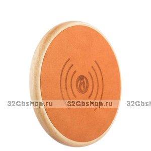 Оранжевая быстрая беспроводная зарядка для Samsung Galaxy S9 / S9+ Plus кожа - i-Carer Genuine Leather Fast Wireless Charging Orange 5-9V-2A