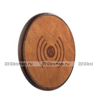 Коричневое беспроводное быстрое зарядное устройство для Samsung Galaxy S9 / S9+ Plus кожа - i-Carer Genuine Leather Fast Wireless Charging Brown 5-9V-2A
