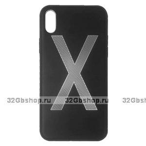 Черный силиконовый чехол с алюминиевой накладкой для iPhone X / Xs 10