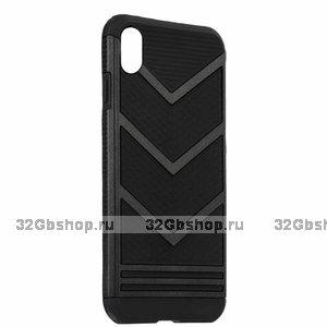 Черный противоударный защитный чехол для iPhone X / Xs 10 пластик-силикон