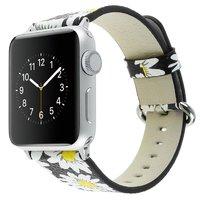 Черный кожаный ремешок Art Case для Apple Watch 42mm с рисунком Ромашки