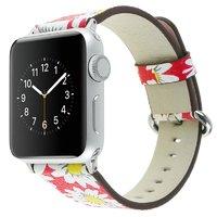 Красный кожаный ремешок Art Case для Apple Watch 42mm с рисунком Ромашки