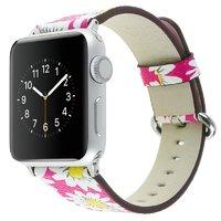 Розовый кожаный ремешок Art Case для Apple Watch 42mm с рисунком Ромашки
