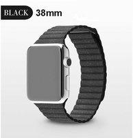 Черный кожаный магнитный ремешок для Apple Watch 38mm