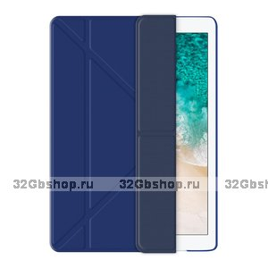 Синий чехол книжка подставка для iPad Pro 10.5 - Deppa Wallet Onzo Soft Touch 1.0мм Blue