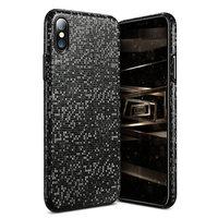 Черный ультратонкий чехол для iPhone X 10 Рисунок мозаика - Ultra Thin 0.3 mm Plastic Case Black