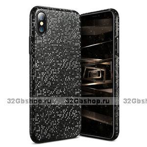 Черный ультратонкий чехол для iPhone X / Xs 10 Рисунок мозаика - Ultra Thin 0.3 mm Plastic Case Black