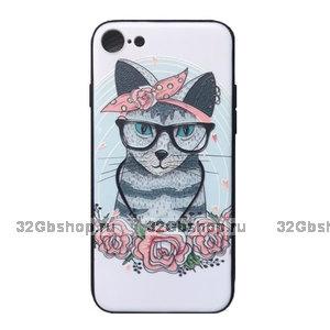 Cиликоновый чехол для iPhone 7 / 8 с рисунком Котик