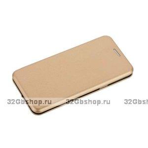 Золотой кожаный чехол книга для Samsung Galaxy S9 - Fashion Case Slim-Fit Gold