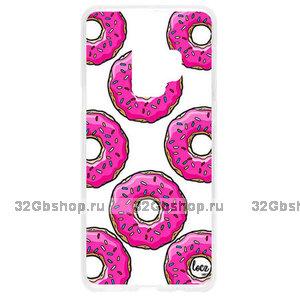 Прозрачный силиконовый чехол для Samsung Galaxy S9 с рисунком пончики